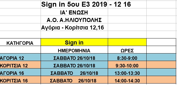 sign in 5ο Ε3 Α/Κ 12-16