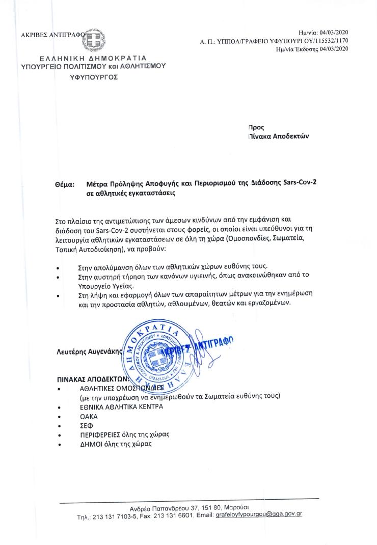Μέτρα πρόληψης Αποφυγής & Περιορισμού της διάδοσης Sars-Cov-2 σε αθλητικές εγκαταστάσεις