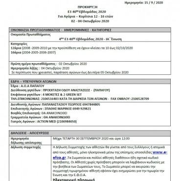 Προκήρυξη Ε3 40ης εβδ.02-04-10-2020